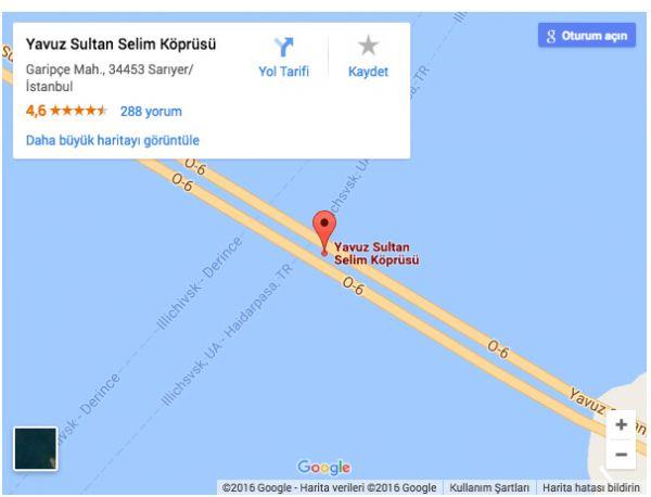 Yavuz Sultan Selim Köprüsü Uydu Görüntüsü