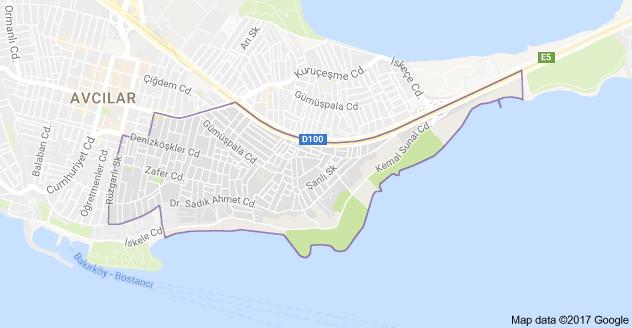 Denizköşkler Uydu Görüntüsü ve Haritası Avcılar İstanbul