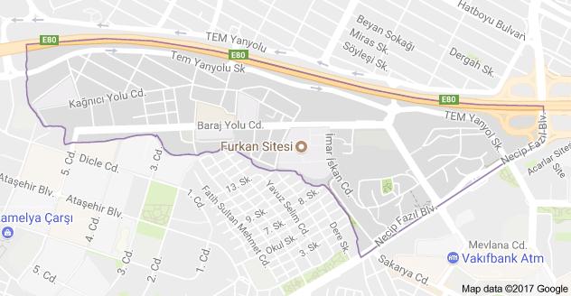 Yenişehir Mahallesi Uydu Görüntüsü ve Haritası Ataşehir İstanbul