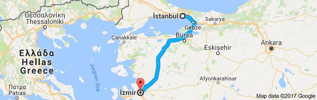 İstanbul – İzmir arası kaç km