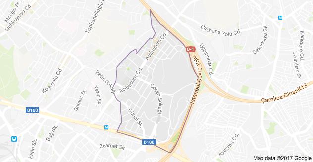 Üsküdar Acıbadem Mahallesi Uydu Görüntüsü ve Haritası