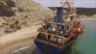 Bozcaada Karaya Oturan Gemi Havadan Kamera İzle