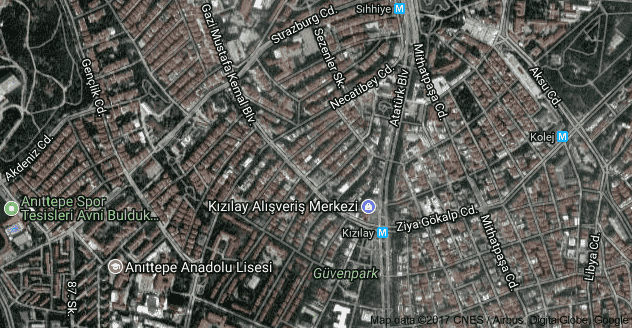 Ankara Kızılay Uydu Görüntüsü Uydu Haritası