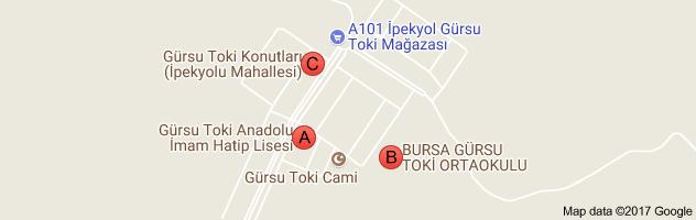 Bursa Gürsu Toki Evleri Uydu Görüntüsü Uydu Haritası