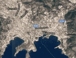Muğla Bodrum Uydu Görüntüsü Haritası