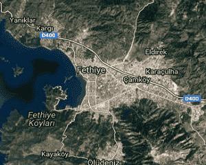 Muğla Fethiye Uydu Görüntüsü Haritası