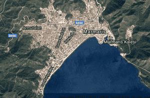 Muğla Marmaris Uydu Görüntüsü Haritası