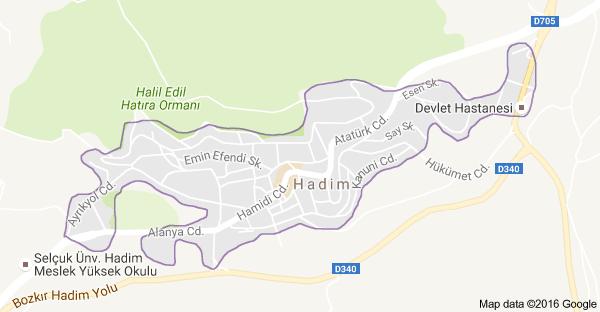Konya Hadim Uydu Görüntüsü ve Haritası