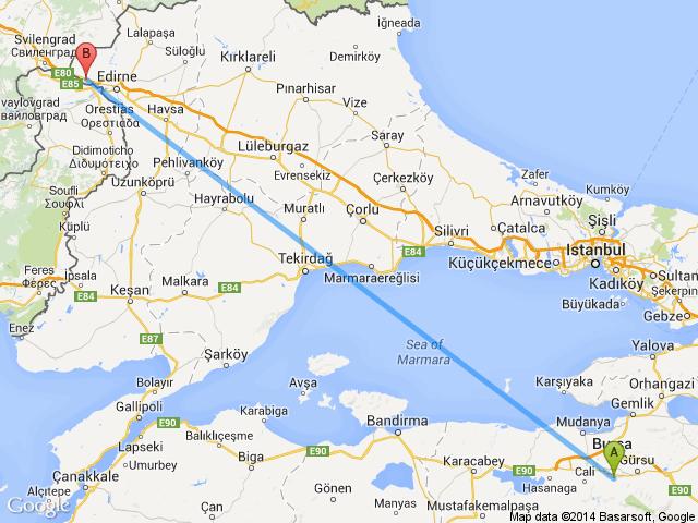 Kapıkule Bursa arası kaç km nasıl gidilir yol güzergahı