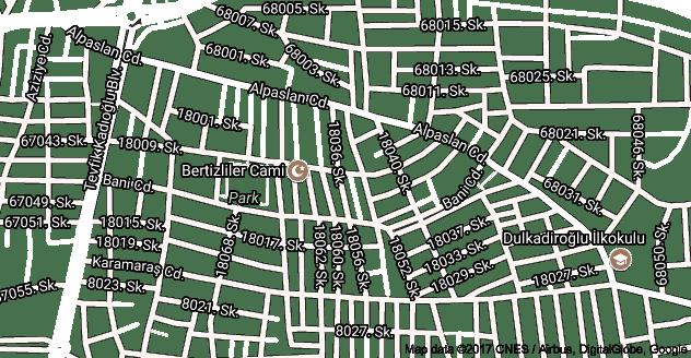 Dulkadiroğlu Uydu Görüntüsü ve Haritası Kahramanmaraş